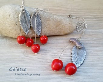 Cherry jewelry set Rockabilly Red Fruit jewelry set 925 silver plated Cherries Pin-up jewelry