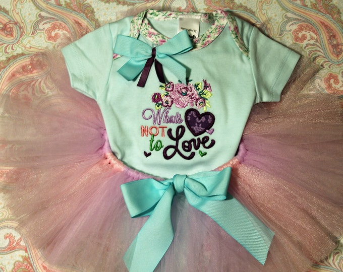 Clearance,Sample Sale, Valentines Day baby girl outfit,Aqua and Pink,Lavender tutu,Valentine bodysuit,Heart shirt,Baby shower gift,Baby gift