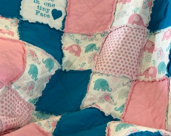 Elephant Quilt, Embroidered Baby Blanket, Elephant Baby Quilt, Girl Quilt, Baby Quilt Handmade, Elephant Bedding, Baby Rag Quilt, Crib Quilt