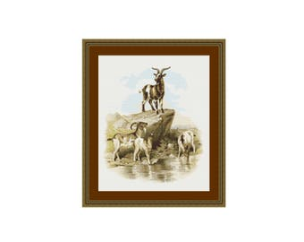 A Visit to the Farm - Goats Counted Cross Stitch Pattern / Chart,  Instant Digital Download (AP008)