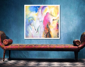 Giclée Canvas Print, Abstract Art, Abstract Painting,  Pink Yellow Blue Large Wall Art, Print Canvas Painting, Print Modern Art, Wall Decor