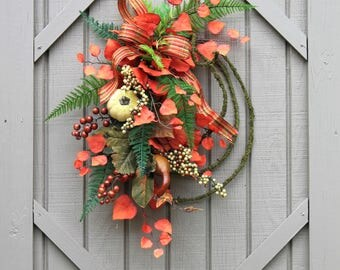 Ships Free, Fall Wreath, Fall Gourd Wreath, Country Vine Wreath, Fixer Upper Decor, Country Wreath, Fall Gourds, Farmhouse Front Door Wreath