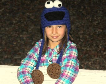 Cookie Monster HAT with Chocolate Chip Cookies tie ends, COOKIE Monster baby hat, Kids Cookie MONSTER Hat