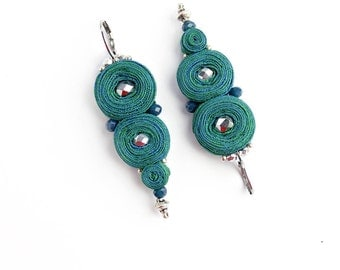 Gift|for|women Anniversary gift|for|girlfriend Dangle earrings Emerald earrings Silver green earrings Boho Bead earrings Lightweight earring