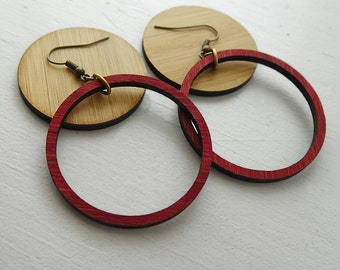 Lightweight Burgundy Wood Hoop earrings inspired by Joanna Gaines fixer upper / sustainable bamboo wood