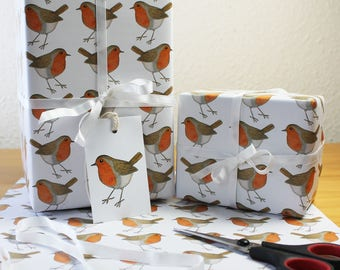 Robin Wrapping Paper British Bird Gift Wrap + Tags Full Sheets 50x70cm