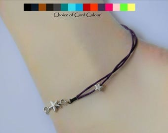 Stars cord anklet (cord colour options) - Charm anklet - Cord anklet - Dainty anklet - Silver stars anklet - ankle bracelet - anklets