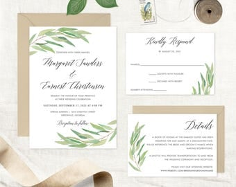 Greenery Wedding Invitation. Leaves Wedding Invitation. Olive Branch Invitation. Modern Calligraphy. Watercolor Leaf Printable Invitation.