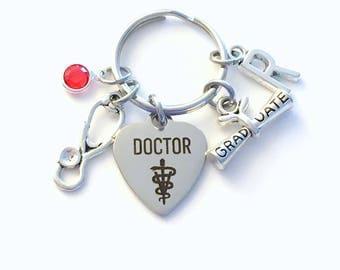 Veterinarian Graduation Gift for Vet Keychain, Animal Doctor Key Chain, Grad Present Stethoscope Keyring women Initial Birthstone her him