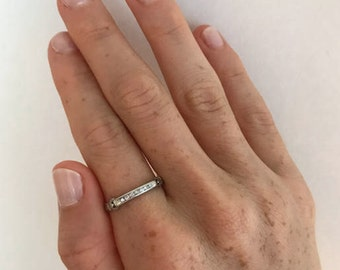 Mid Century Diamond Half Eternity Band