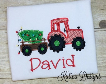 Christmas Tractor Shirt, Boy's Christmas Shirt, Tractor Shirt, Christmas Applique, Tractor Applique, Boys Christmas, Christmas, Personalized