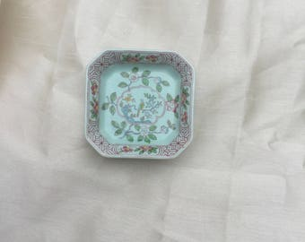 Very Pretty Vintage 1970s English Calyx Ware Small Square Dish in 'Singapore Bird' Pattern by ADAMS