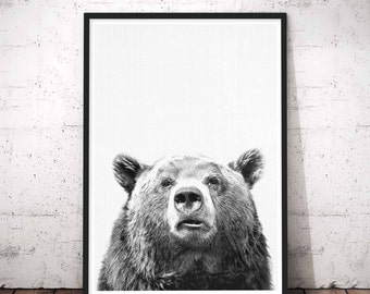 Rustic Bear Art, Mama Bear, Woodland Nursery Wall Art, Abstract Black and White, Grizzly Bear Wall Art, Grey Bear Print, Bear Nursery Print