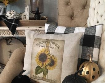 Sunflower Pillow Cover, Fall Pillow Cover, Farmhouse Decor, Farm Pillow, Country Decor, Fall Decor, Sunflower Decor, Fall Home Decor