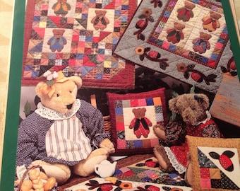 Ladybears Quilt, Little Quilts, small quilts, vintage quilt pattern, appliqué quilt,  Ladybears Garden Club Quilt, Ladybug Patchwork Quilt