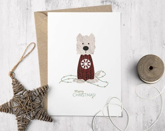 Wallace the Westie Christmas Card, Westie Happy Christmas, Dog Greetings Card, Seasons Greetings Westie Card, West Highland Terrier Card
