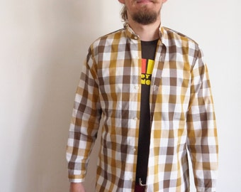 1970's shirt Triola 70's Vintage Gingham shirt Mandarin collar Long sleeve Party Hipster cotton shirt medium large