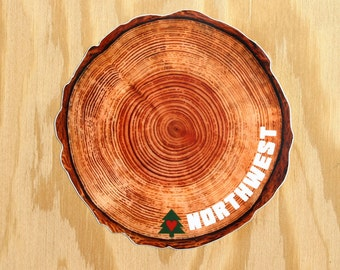 Northwest Tree Rings Sticker -- Pacific Northwest Tree Decal -- NW Tree Sticker -- Timber -- Logger -- Lumber -- Lumberjack