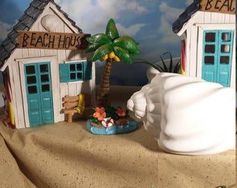 Fairy Garden Beach House,Beach Themed Fairy House, Light Up Fairy Home,Miniature Gardening, Seaside Cottage,Ocean Shack, Summer Fairy Garden