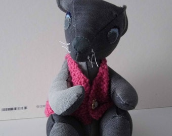 cute little denim bear with pink knitted jacket