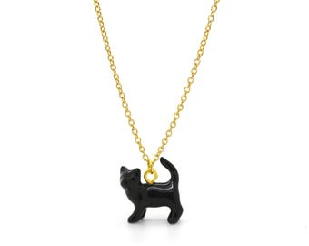 Tiny Black Cat Charm Necklace, Hand Sculpted/Painted Figurine, Ceramic Animal Pendant & Chain ()