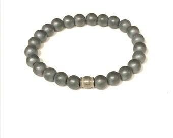 Men's Matte Hematite & Stainless Bracelet
