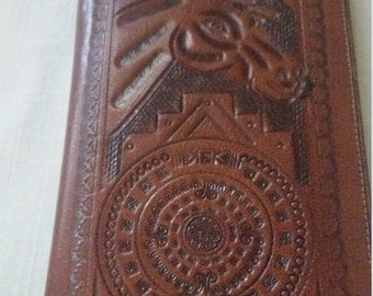 Hand Tooled Leather Wallet with Stamped Horse Design Made in Mexico. Billfold with Note Pad and  Checkbook Holder