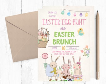 Easter Egg Hunt Invitations, Easter Brunch Invitations, Easter Brunch Invitation, Easter Egg Hunt Invites, Egg Hunt party, Easter invites,