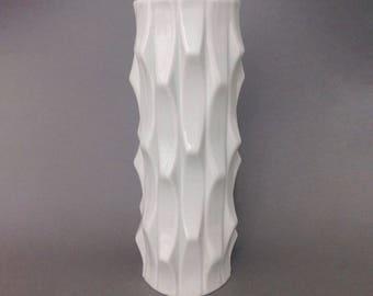 Mid Century Vieux Paris Porcelain Vase - Design by Heinrich Fuchs - Op Art style