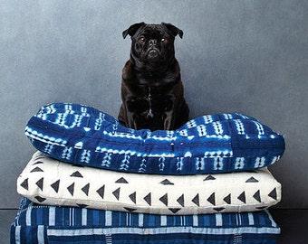 Custom Dog Bed // Shibori, Mudcloth, Stripes, Tie Dye, Indigo, Baoule, Ikat, and more! // Bohemian mudcloth pet bed pillow
