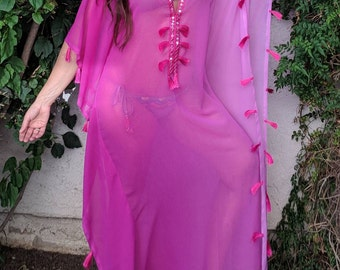 Fuchsia Caftan, Resort, beach coverups, swimsuit coverup, Beach Cover ups ,honeymoon, Tunic, Vacation wear, Beach cover-ups, Silk Kaftan