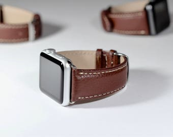 42mm Apple Watch Band Brown Cow-hide Italian Leather - Made in Italy Apple Watch Strap 38mm Apple Watch band