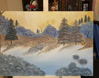 Large Bob Ross style oil painting