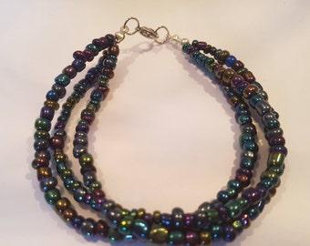 Tri- Rainbow Seed Bracelet
