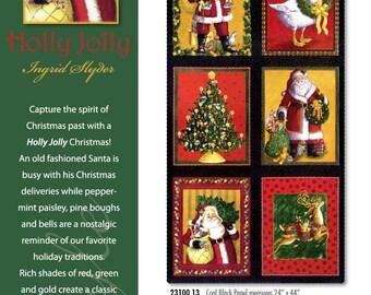 Holly Jolly Fabric Panel // Moda Old Fashioned Santa Spirit of Christmas Past