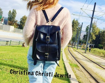 Leather Rucksack, College Backpack, Leather Satchel, Made in Greece from Full Grain Leather, LARGE.