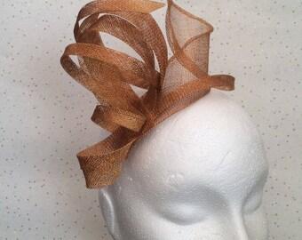 Gold Fascinator Hatinator Headpiece Wedding Ochre  Fascinator on Clip or Comb Bespoke Goodwood