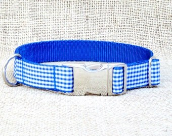 "Blue Gingham Dog Collar~ 3/4"", 1"" or 1.5"" Wide with Metal Side Release Buckle"