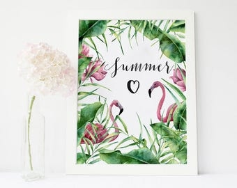 Flamingo wallpaper etsy for Fenicottero arredamento