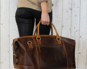 Leather weekend Bag  overnight holdall cabin luggage travel bag for men and women - Niche Lane Aviator Coffee - Sample Sale