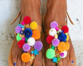 EUPHORIA / Pom Pom sandals/ T-strap sandals/ boho sandals/ colorful sandals/ handmade Greek sandals/ boho flats/ decorated sandals