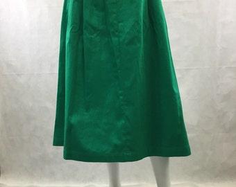 "Green Twill A-Line Skirt JG Hook Cinched Waist and Hip 1990's 24"" Waist Midi Length Cotton Skirt Waist Band with Belt Loops Pockets"