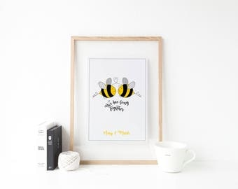 Personalised We Bee-long Together Wall Art Print - Mr & Mrs Print - Gift for him - Gift for her - Anniversary Gift