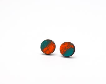 Earrings wooden circles blue/orange
