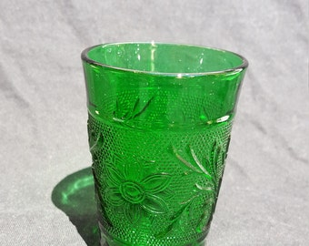 Forest green Sandwich glass juice tumbler by Anchor Hocking