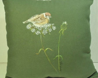 Sparrow, House Sparrow, Bird, Queen Anne's Lace, Pillow, Hand Painted, Sage Green, Natural, Any Decor, Perfect Gift, Any Occasion