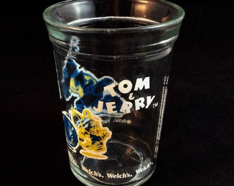 Tom and Jerry Soccer Welchs Jelly Jar - Sports Series - 1991 - Vintage 90s Glass Jelly Cup