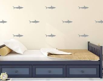Shark Wall Decal - Kids Wall Sticker Nursery Decor Pattern - Bedroom Home Decor | PP144