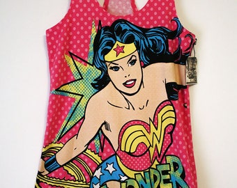 Wonder Woman Vintage Classic DC Comics Image Pink Poc-a-dot Stretchy Tank Top- Size Women's Small (Cotton/Spandex)