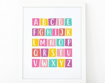 Alphabet wall art, Alphabet print, Nursery wall decor, kids printable, children print, Art for kids, Educational print, Kids printable, ABC